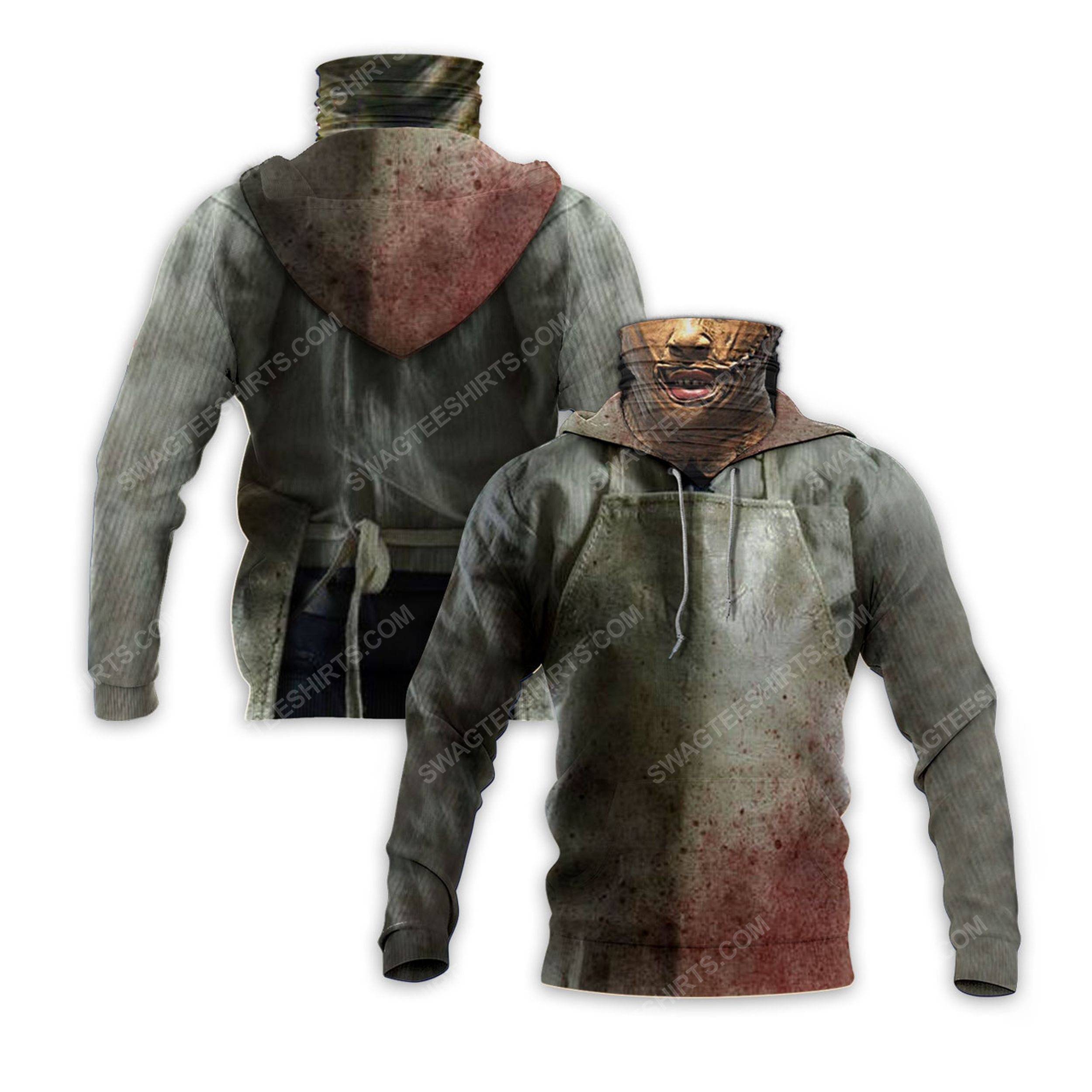 Horror movie leatherface for halloween full print mask hoodie 2(1) - Copy