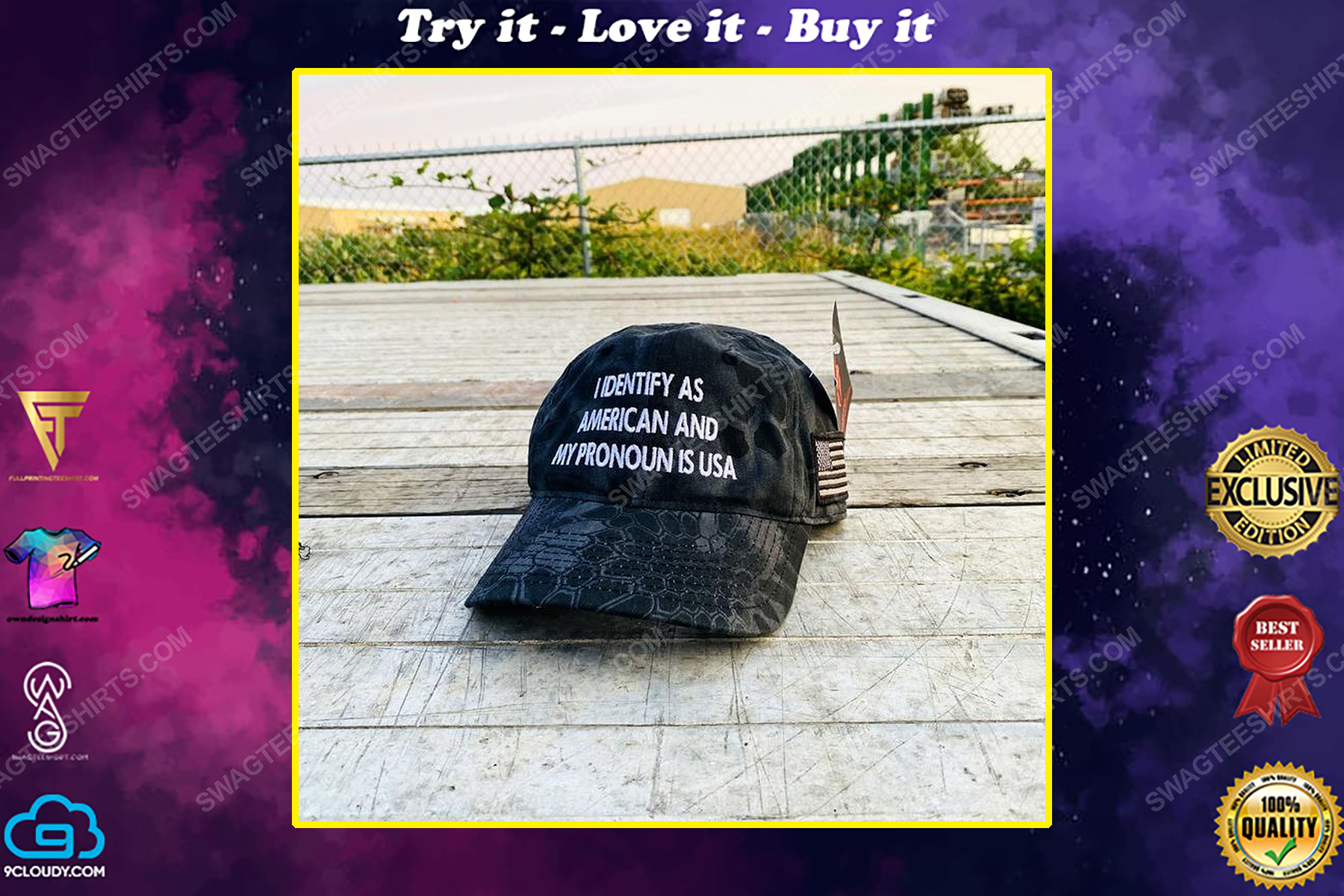 I identify as american and my pronoun is usa full print classic hat
