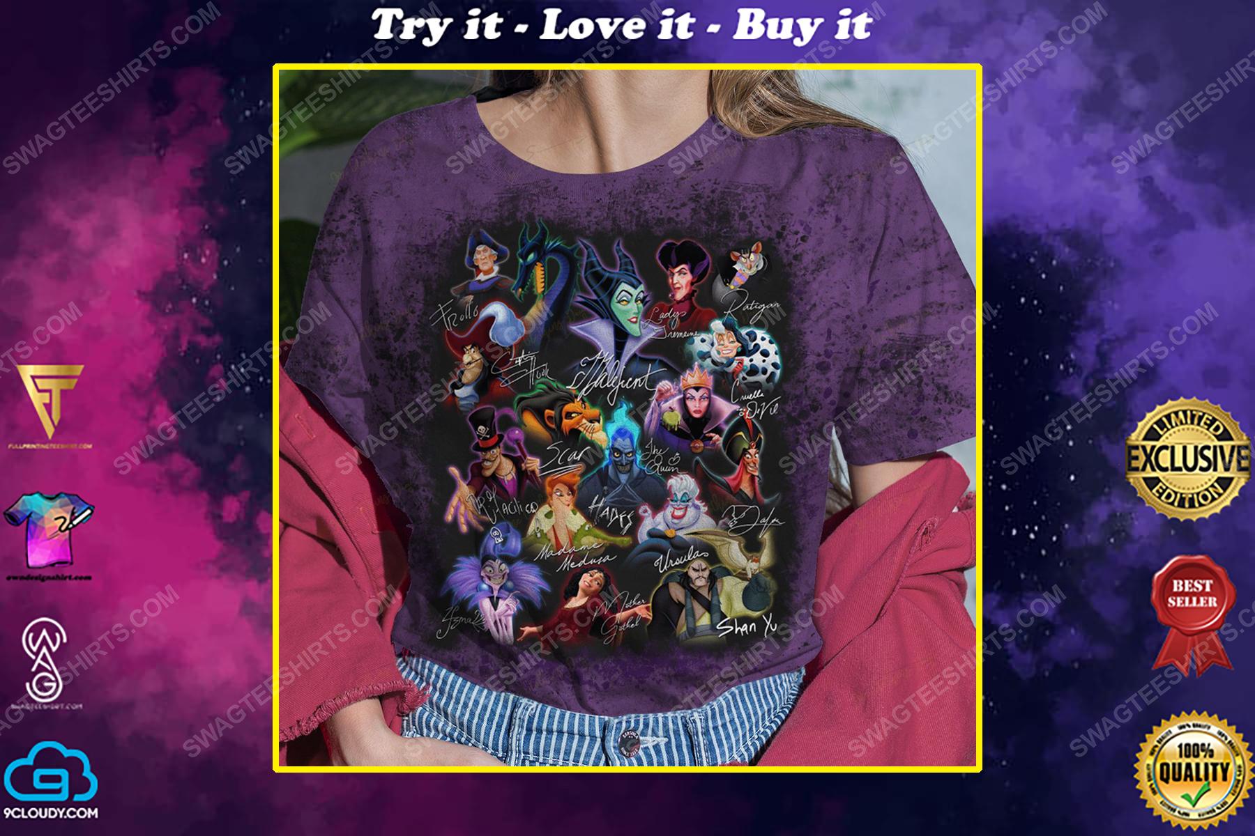 Iconic disney villains characters halloween night shirt