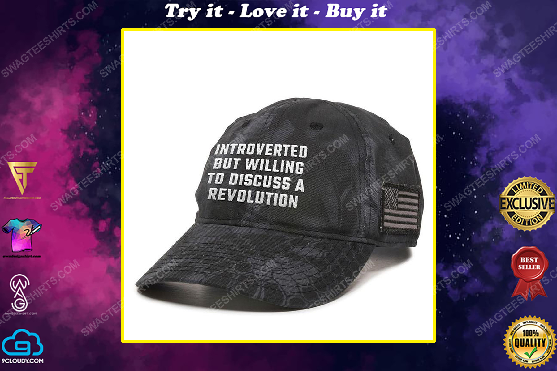 Introverted but willing to discuss a revolution full print classic hat