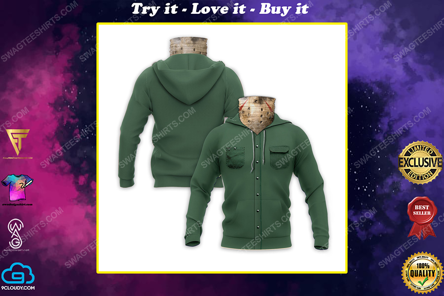 Jason voorhees friday the 13th for halloween full print mask hoodie