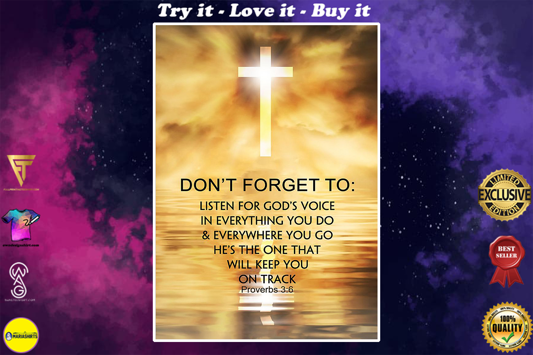 Jesus Christ dont forget to listen fot God's voice in everything poster