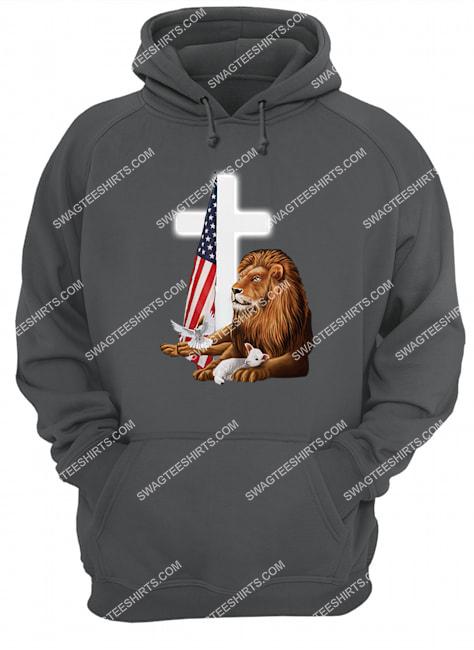 Jesus Christ lion lamb cross memorial day hoodie 1
