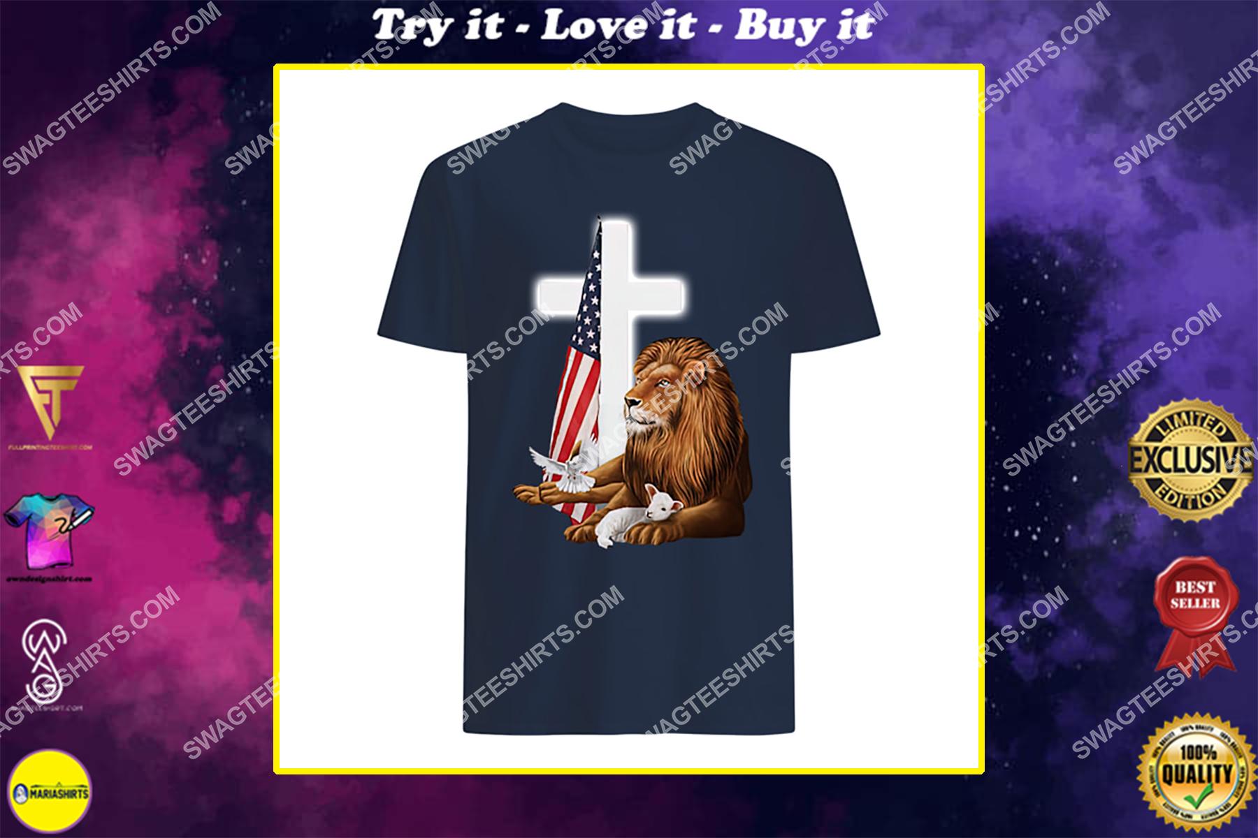 Jesus Christ lion lamb cross memorial day shirt