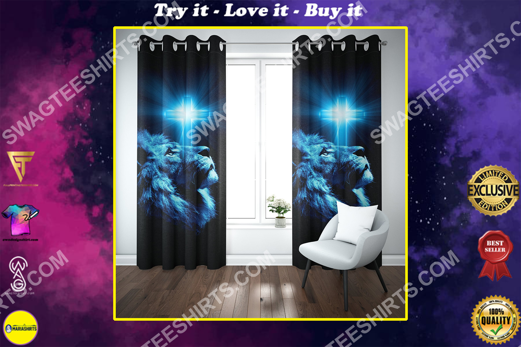Jesus and lion all over printed window curtains