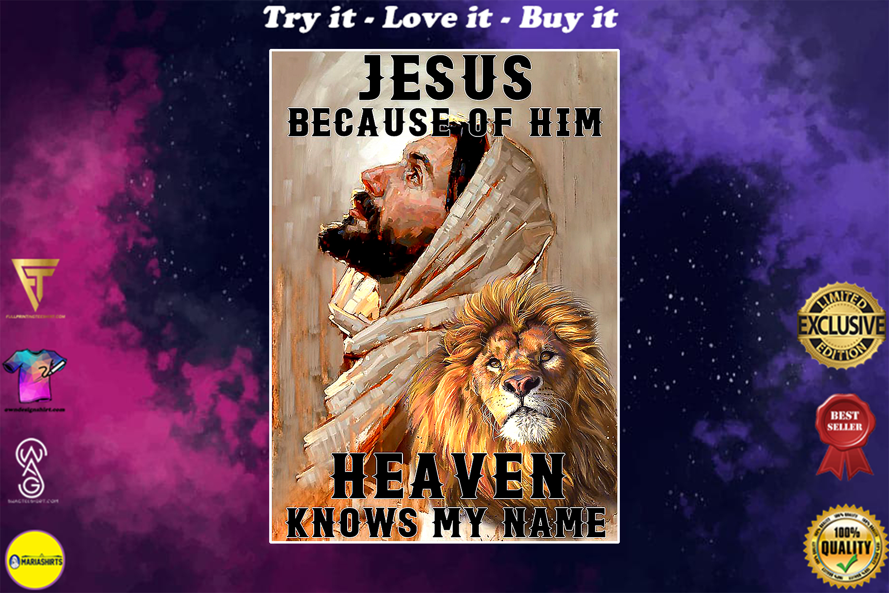 Jesus because of him heaven knows my name lion poster