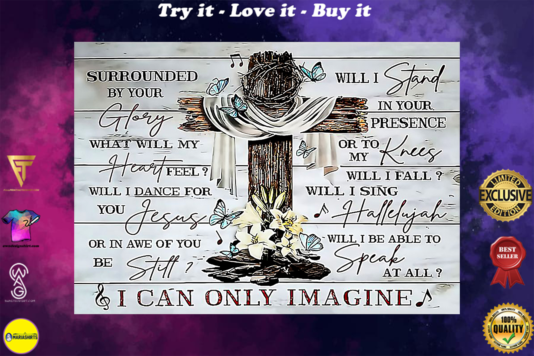 Jesus cross and butterfly i can only imagine poster
