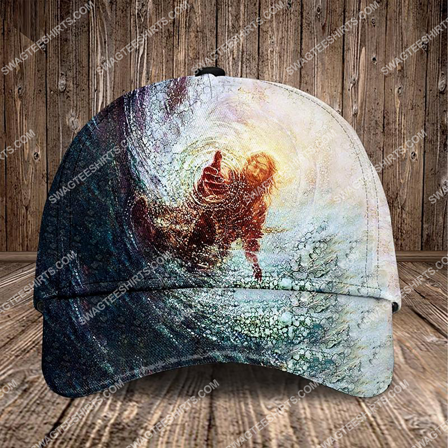Jesus reaching into water all over printed classic cap 3 - Copy (2)