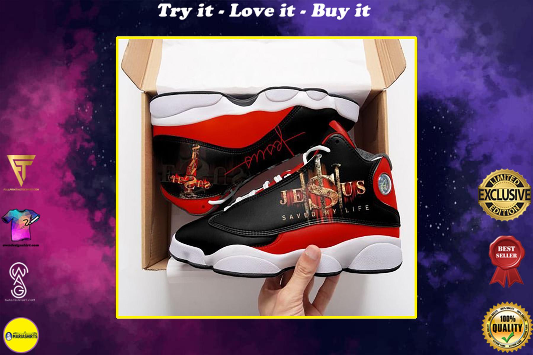 Jesus saved my life all over printed air jordan 13 sneakers