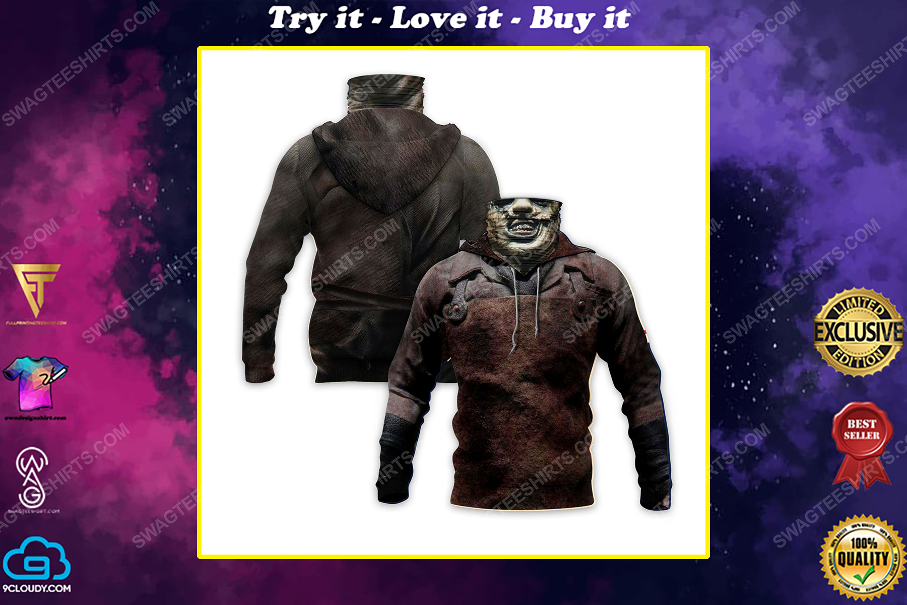Leatherface the texas chain saw massacre for halloween full print mask hoodie