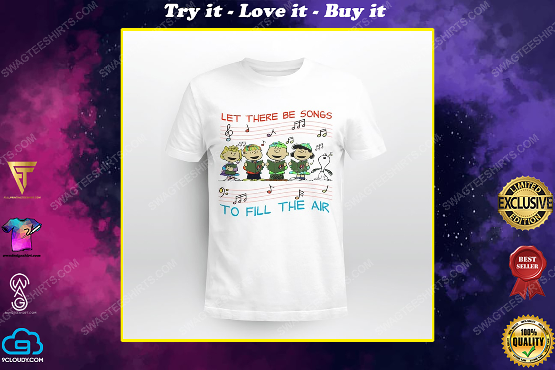 Let there be songs to fill the air snoopy and grateful dead rock band shirt