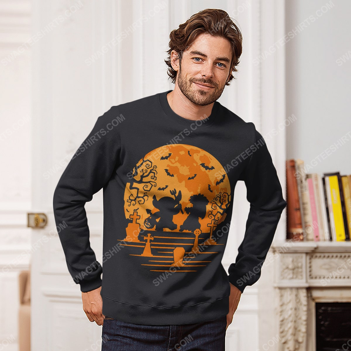 Lilo and stitch in halloween night sweatshirt 1(1)