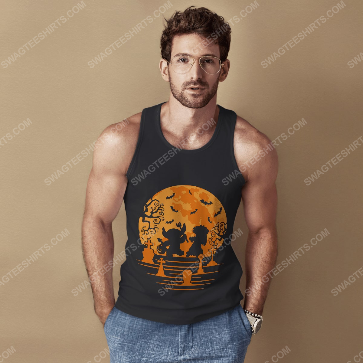 Lilo and stitch in halloween night tank top 1(1)