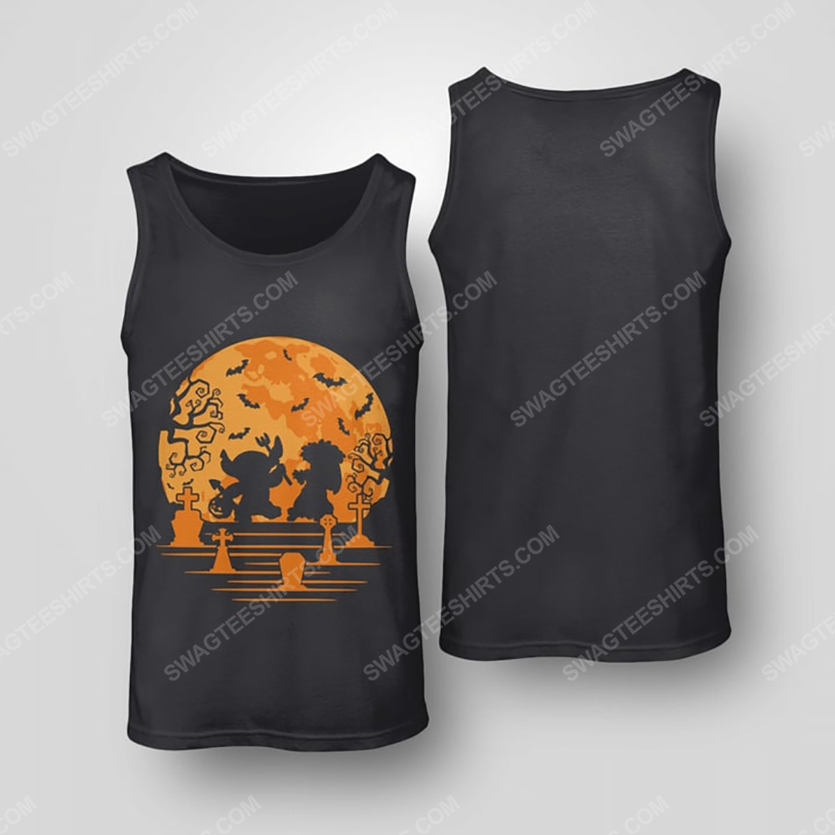 Lilo and stitch in halloween night tank top(1)