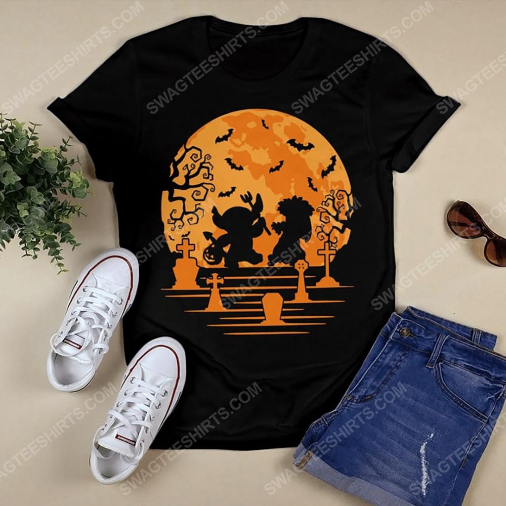 Lilo and stitch in halloween night tshirt 1