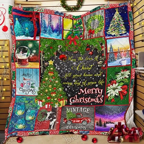 Merry Christmas may the love of Christ all over print quilt 2