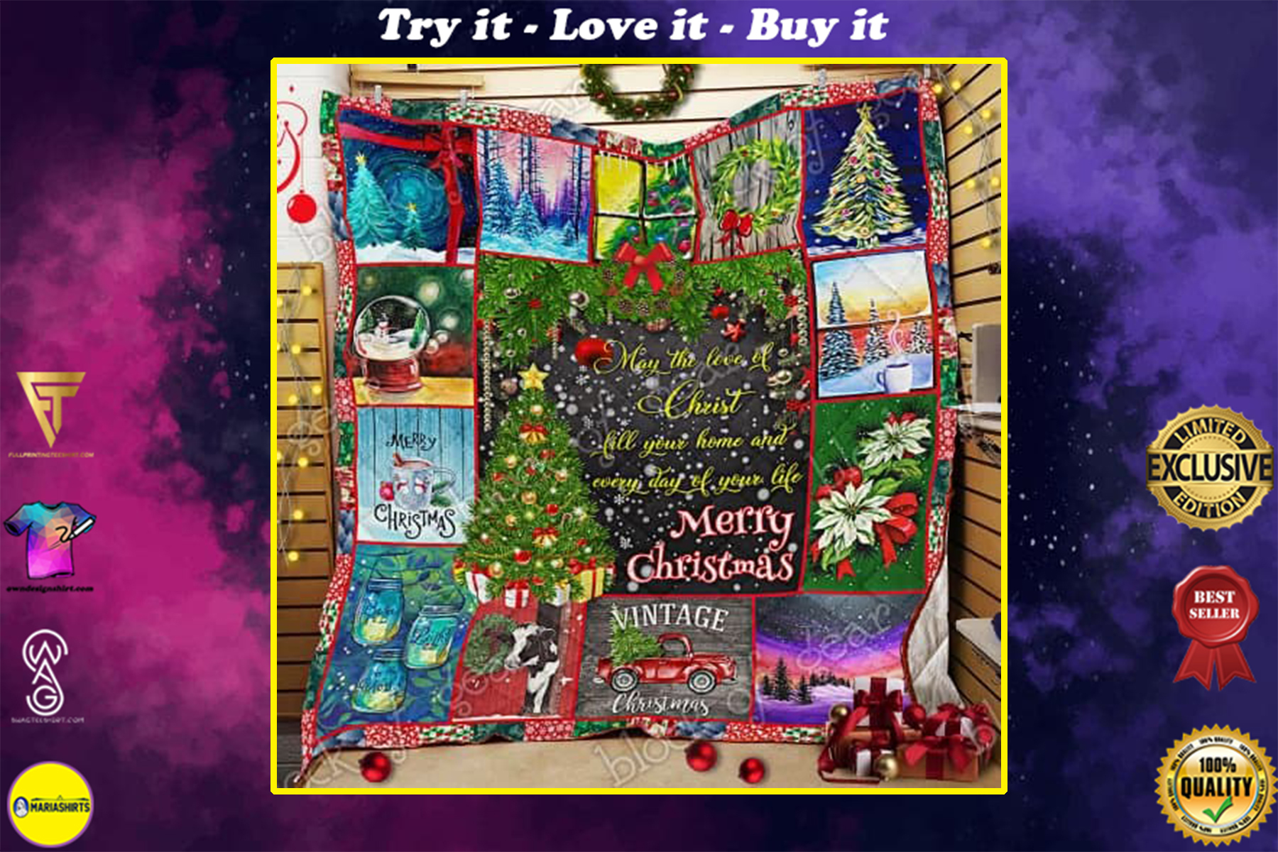 Merry Christmas may the love of Christ all over print quilt