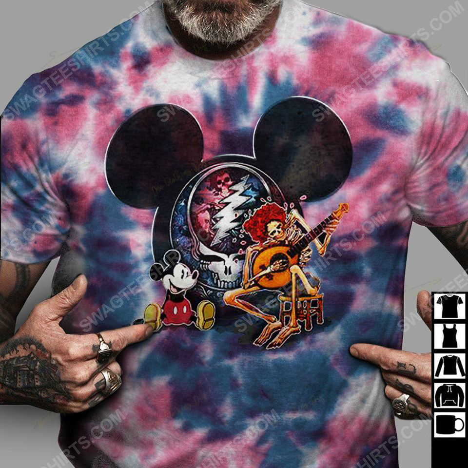 Mickey mouse and grateful dead rock band tie dye hippie shirt 3(1)