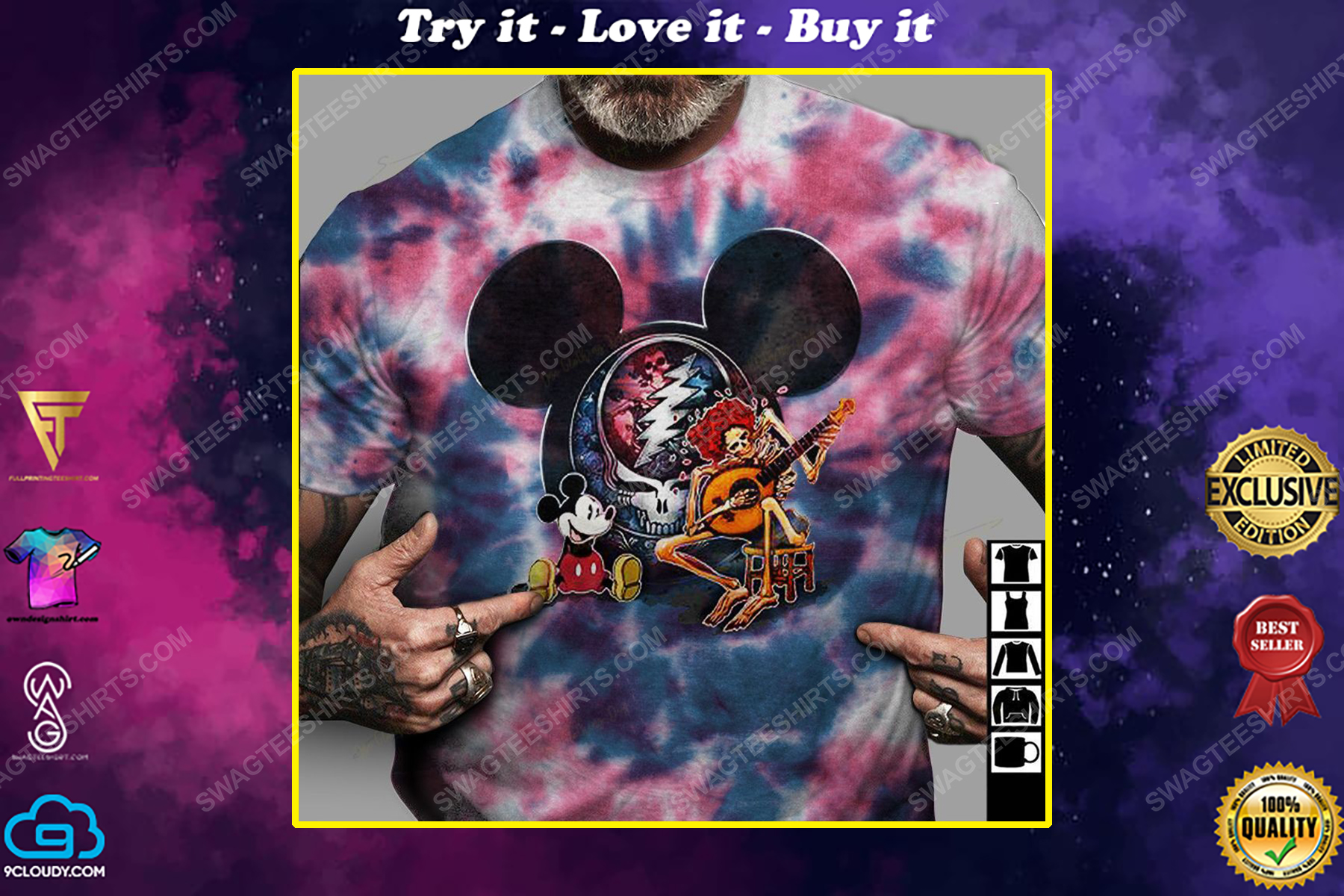 Mickey mouse and grateful dead rock band tie dye hippie shirt