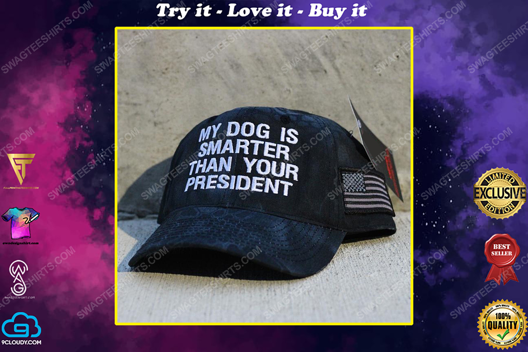 My dog is smarter than your president american flag full print classic hat
