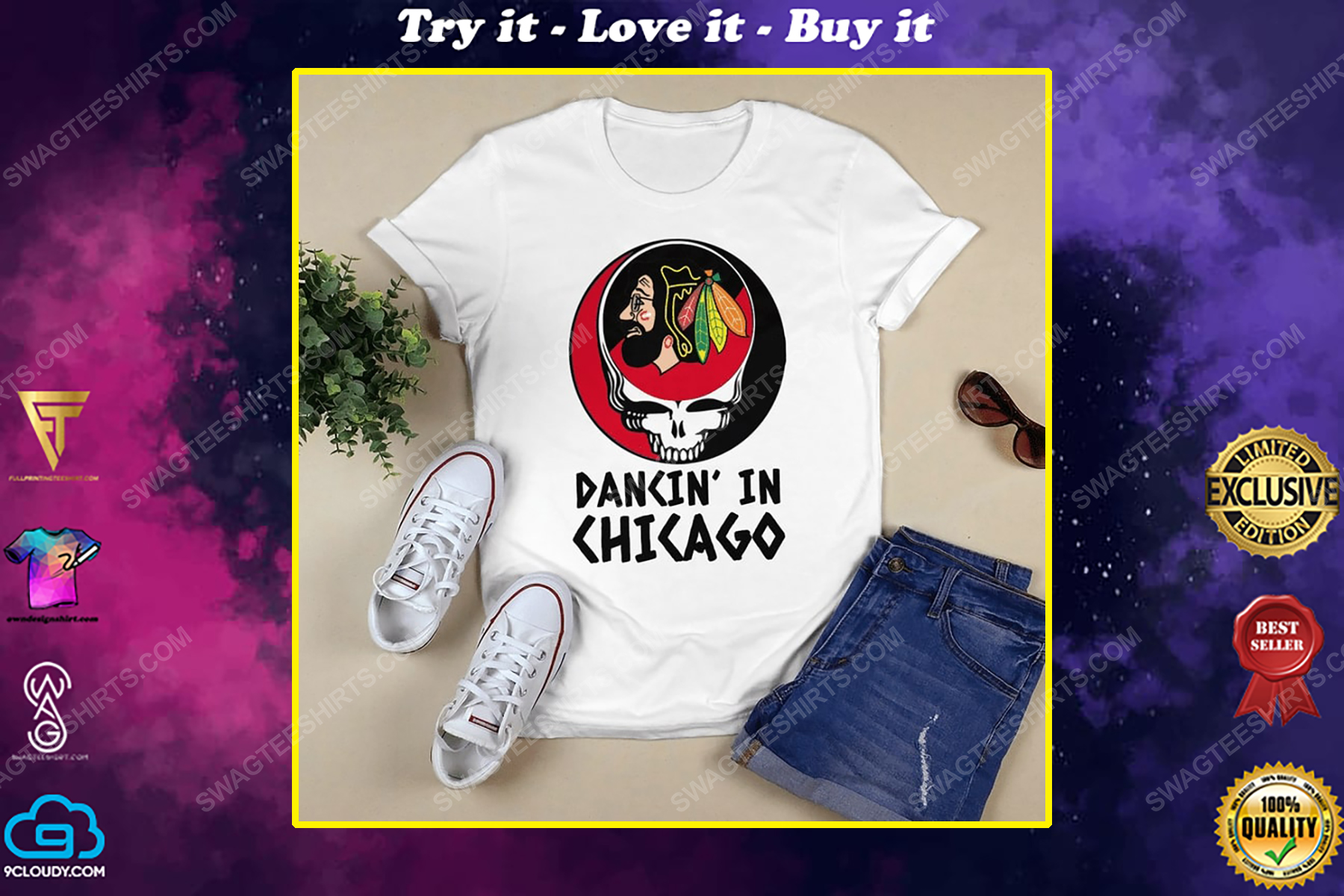 NHL chicago blackhawks and grateful dead dancin in chicago shirt