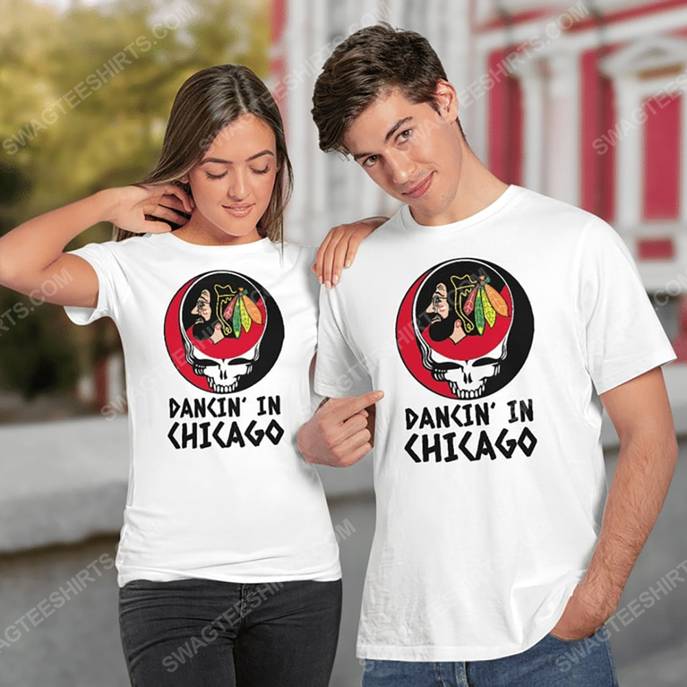 NHL chicago blackhawks and grateful dead dancin in chicago tshirt 1(1)