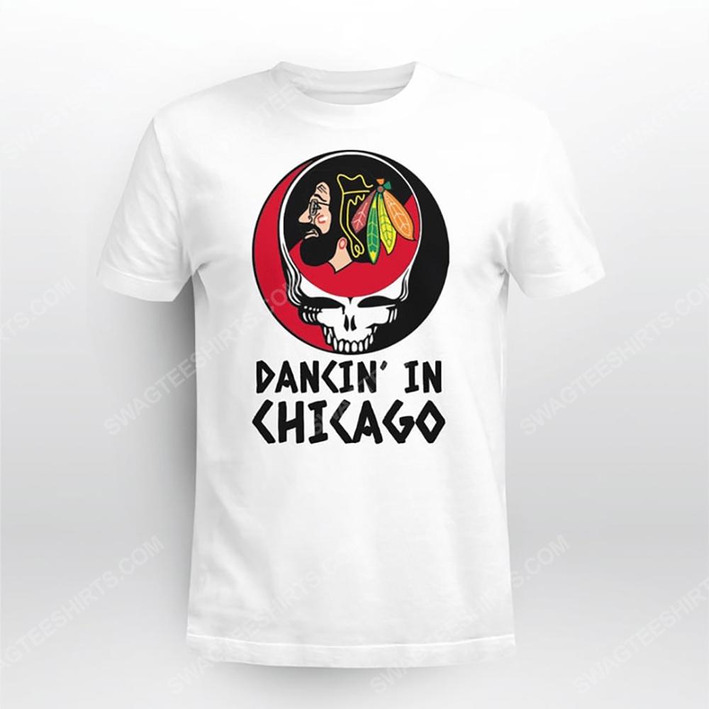 NHL chicago blackhawks and grateful dead dancin in chicago tshirt(1)