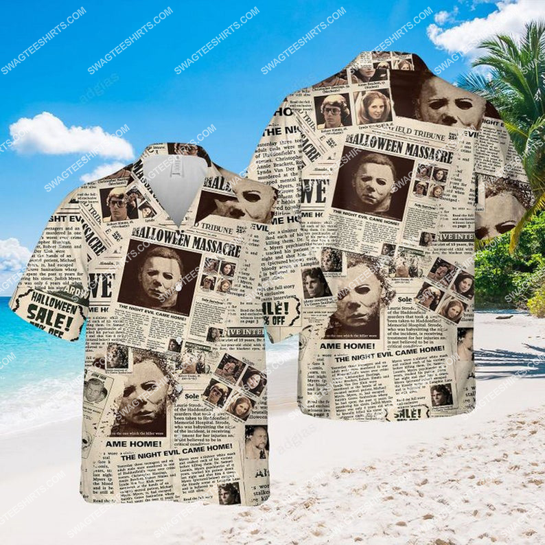 Newspaper horror character halloween hawaiian shirt 1 - Copy (2)