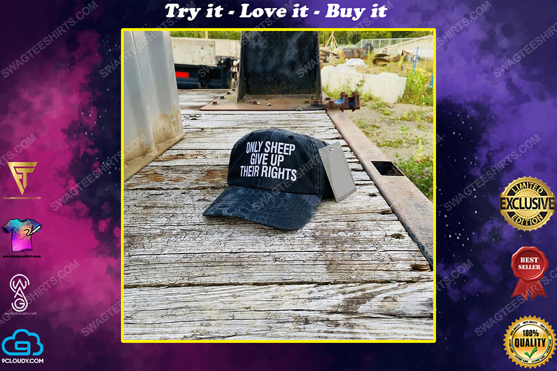 Only sheep give up their rights full print classic hat