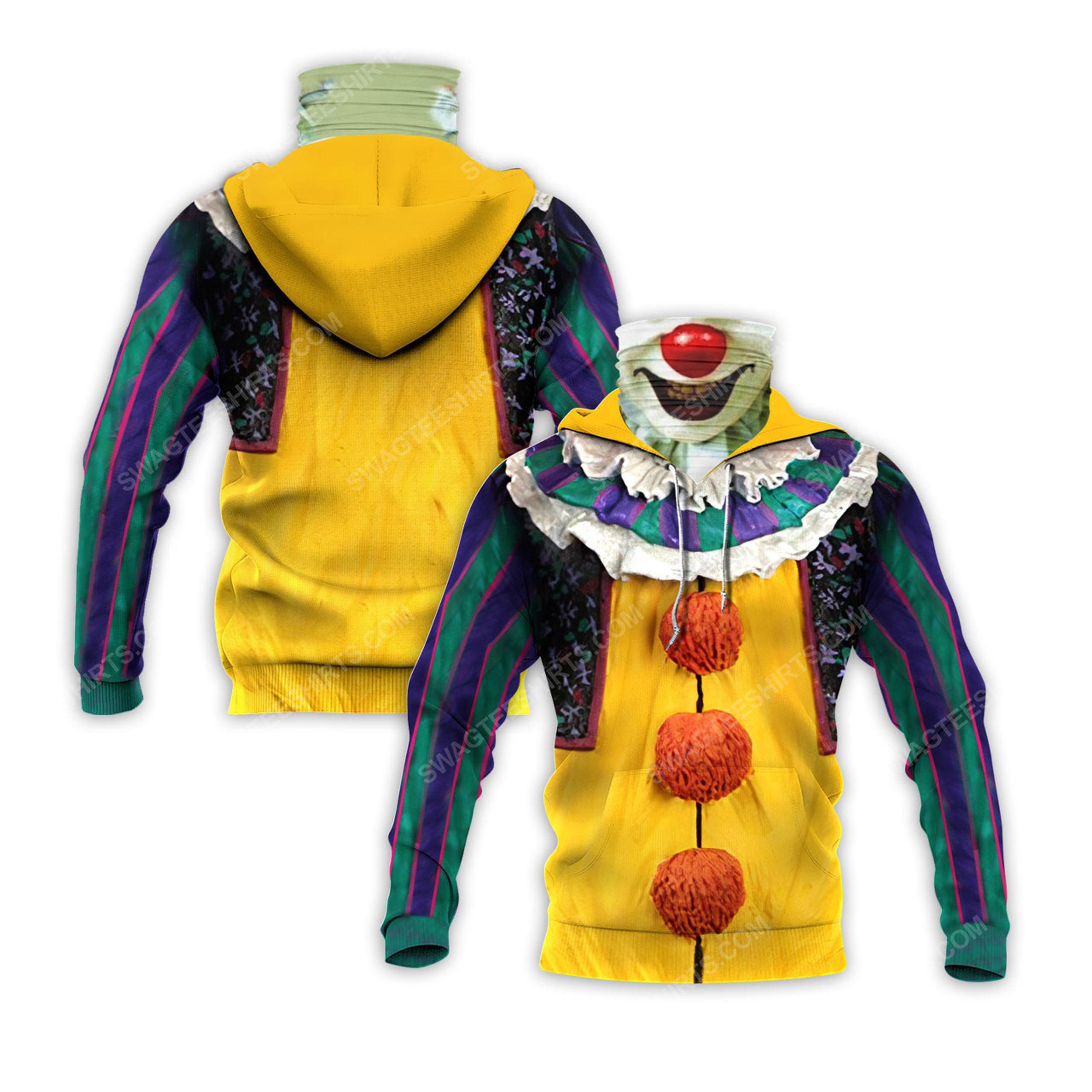 Pennywise the dancing clown for halloween full print mask hoodie 2(1) - Copy