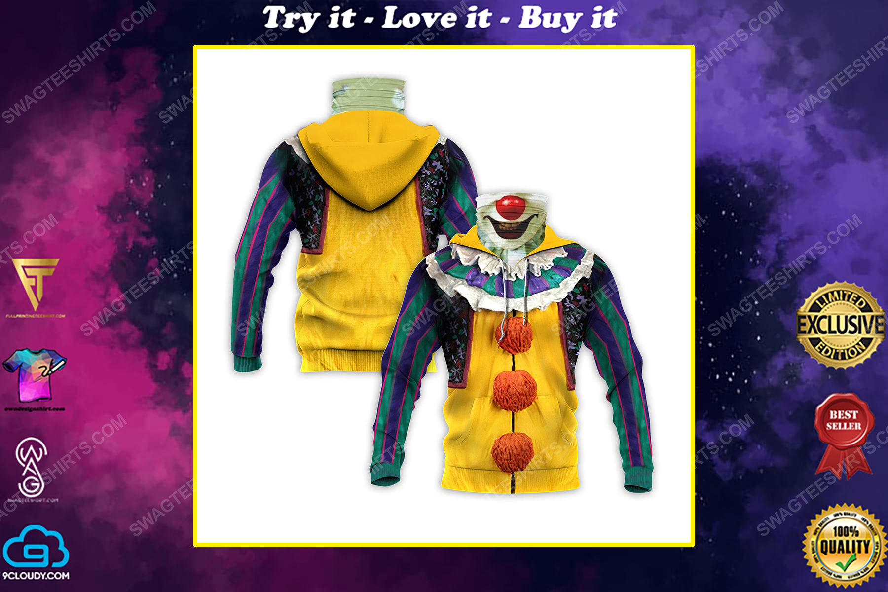 Pennywise the dancing clown for halloween full print mask hoodie