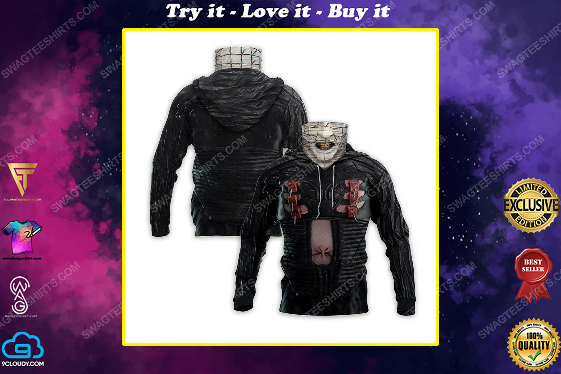 Pinhead the hell priest for halloween full print mask hoodie
