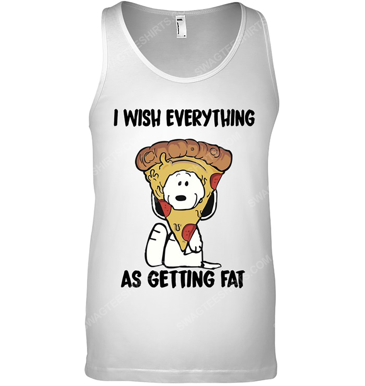 Snoopy and pizza i wish everything as getting eat tank top 1