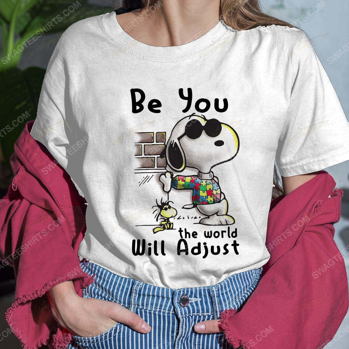 Snoopy charlie brown be you the world will adjust shirt 2(1)