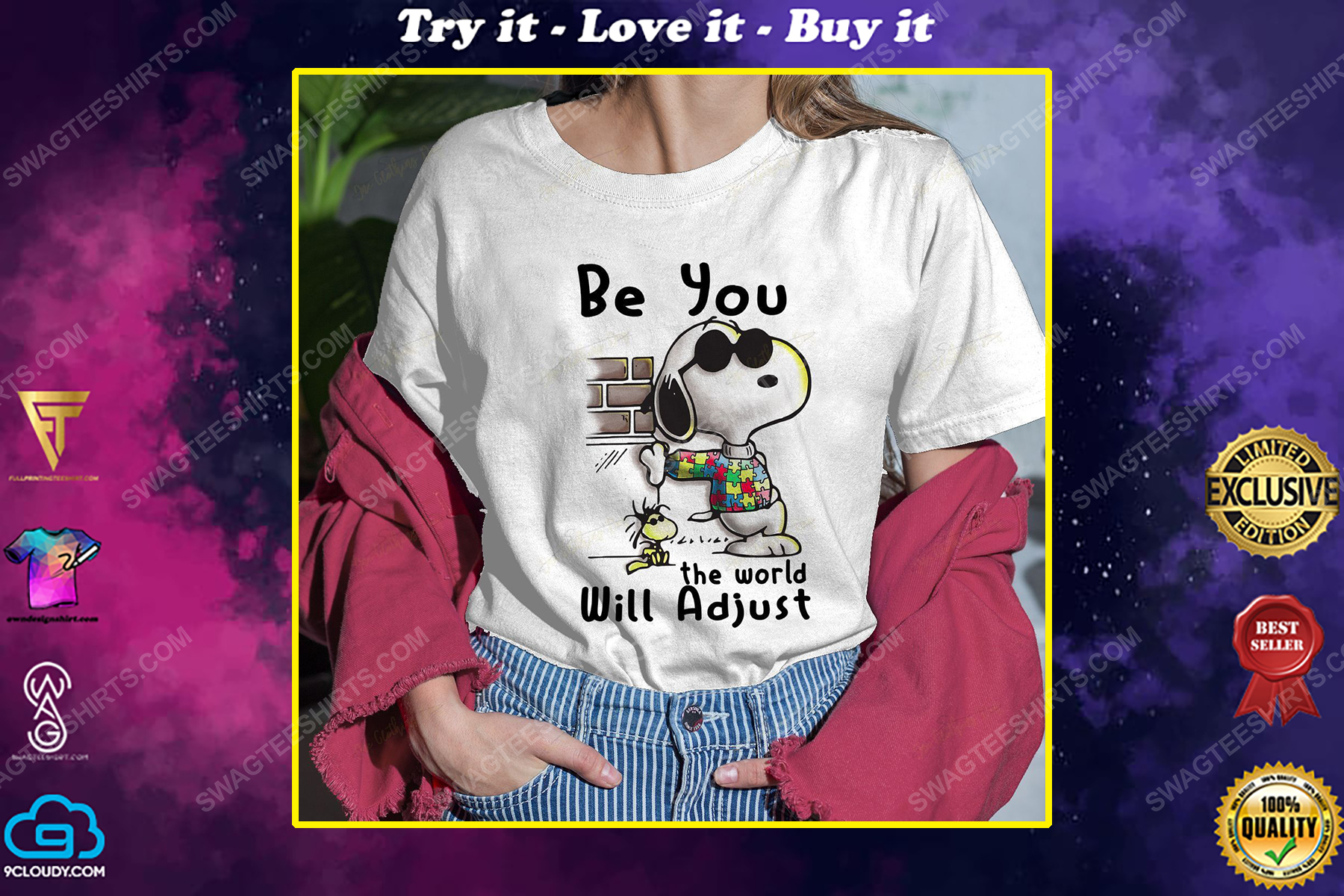 Snoopy charlie brown be you the world will adjust shirt