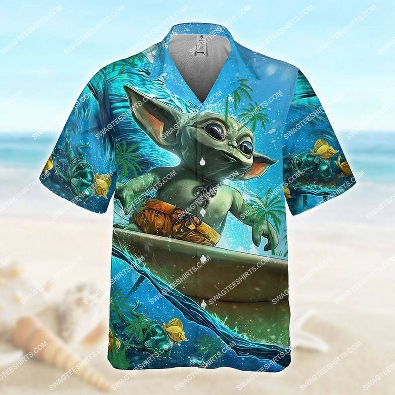 Surfing baby yoda mandalorian hawaiian shirt 1