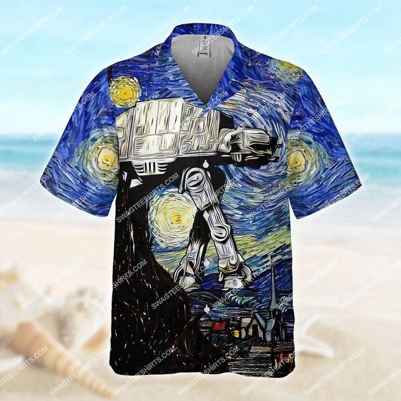 The all terrain armored transport at-at star wars starry night hawaiian shirt 1 - Copy (2)