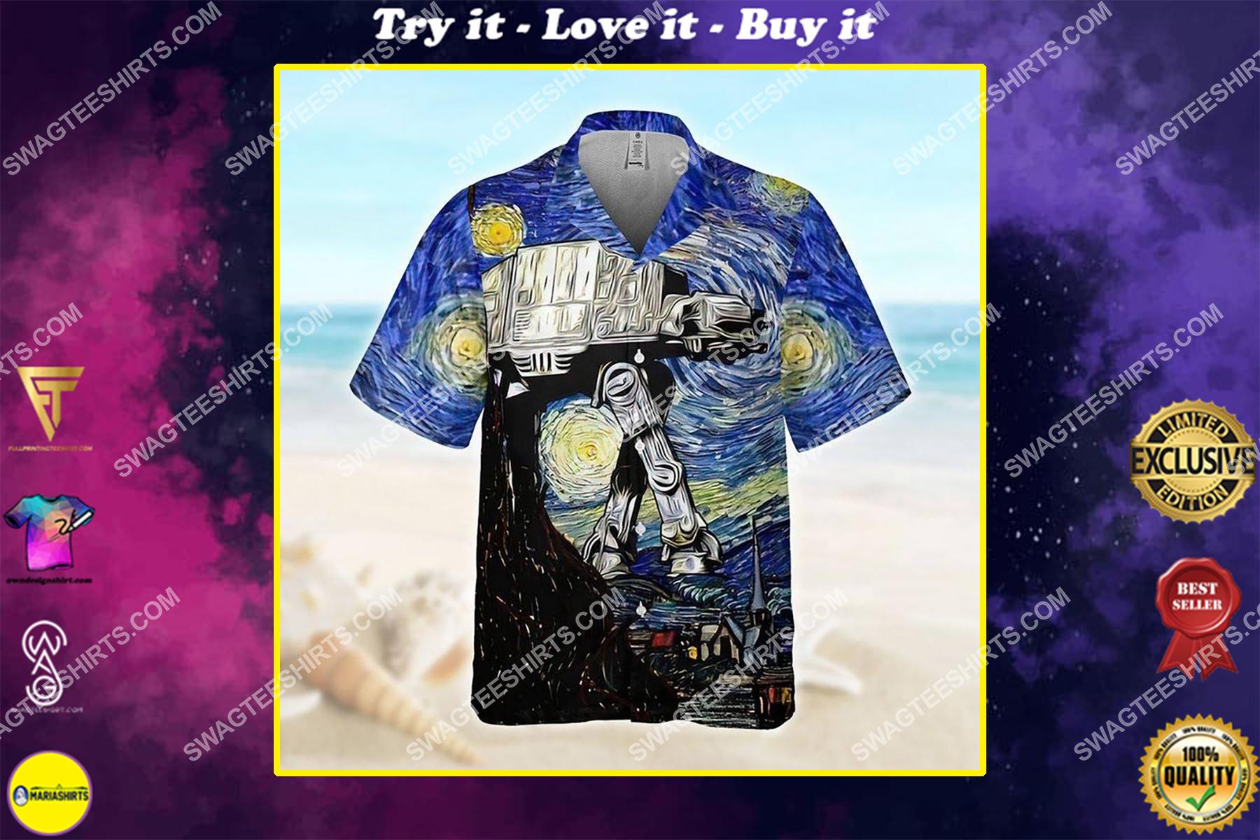 The all terrain armored transport at-at star wars starry night hawaiian shirt