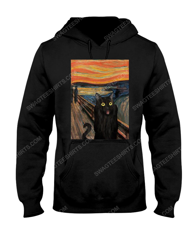 The edvard munch scream black cat hoodie 1