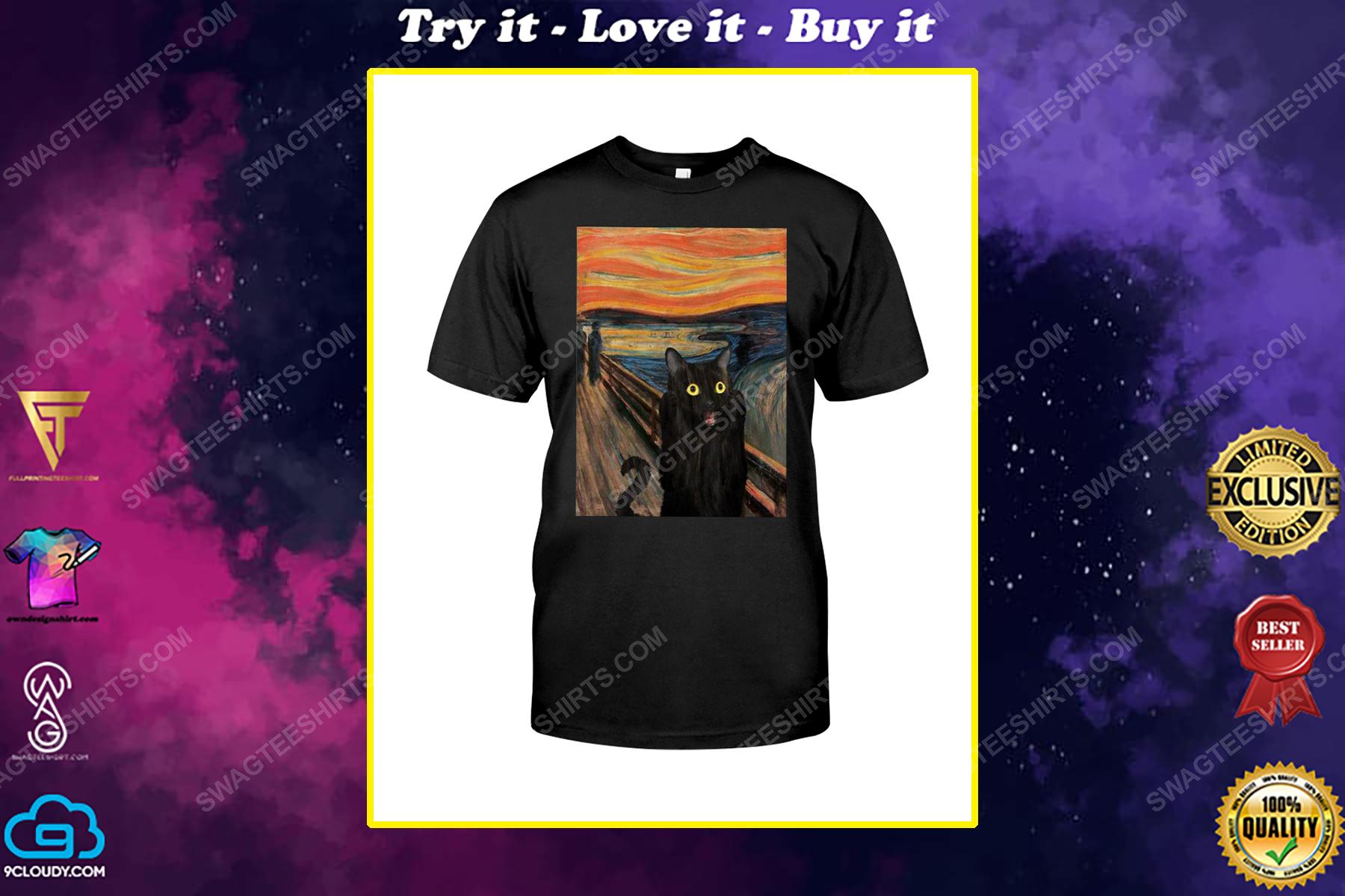 The edvard munch scream black cat shirt