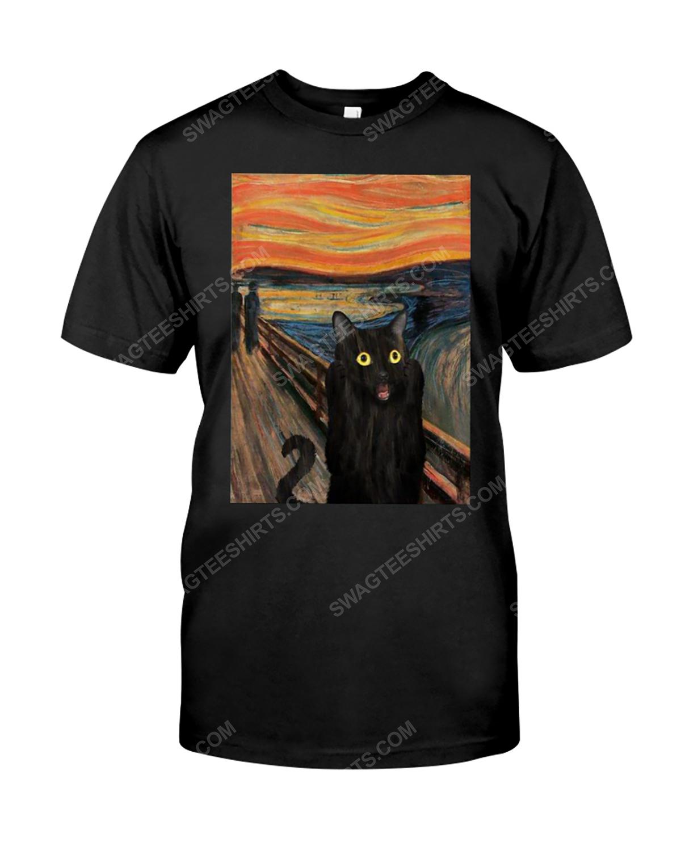 The edvard munch scream black cat tshirt 1