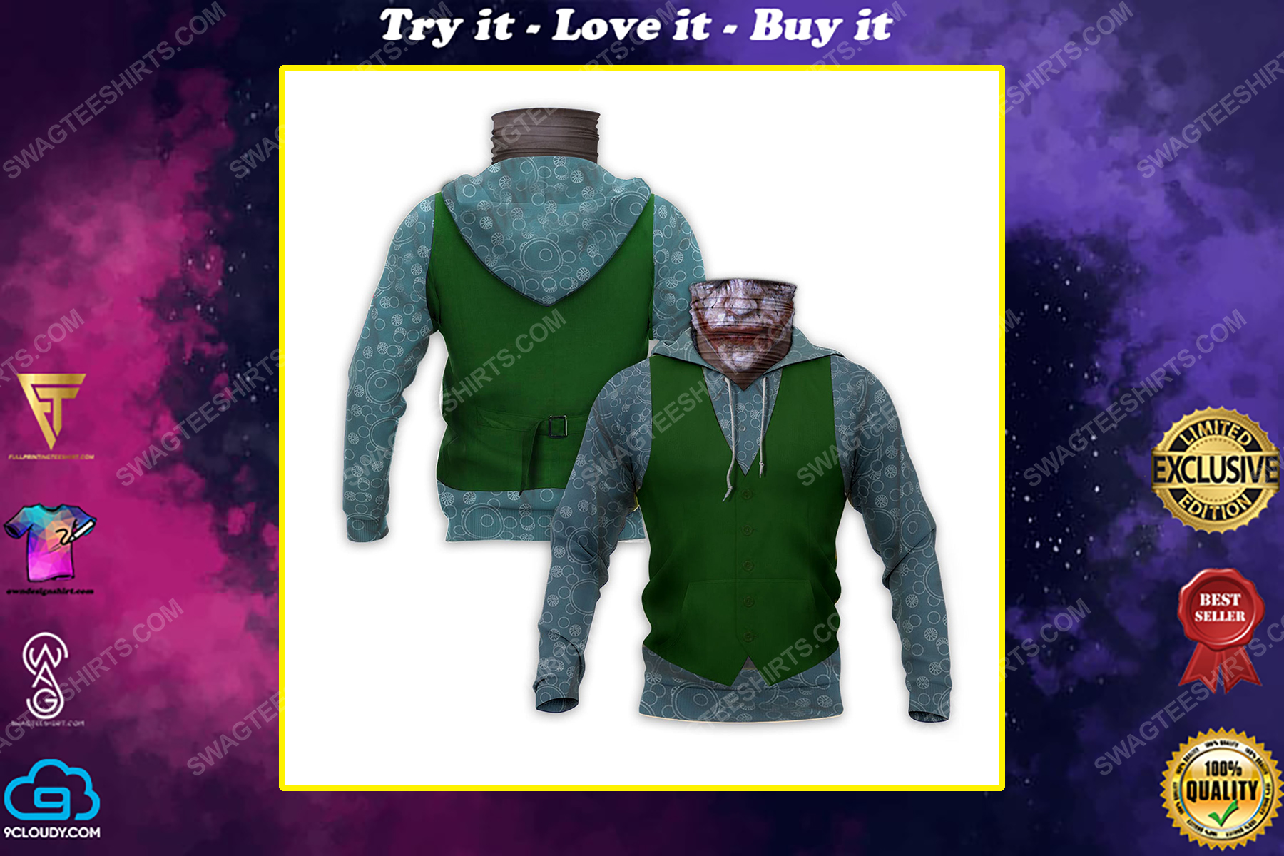 The joker with suit full print mask hoodie