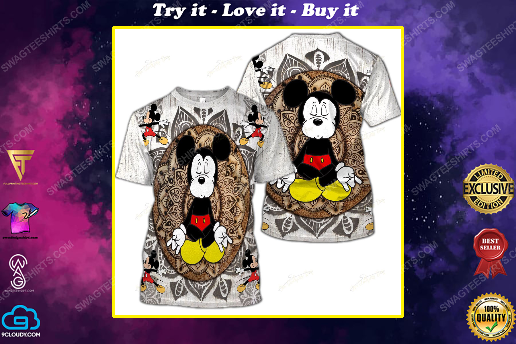The mickey mouse namaste full printed shirt