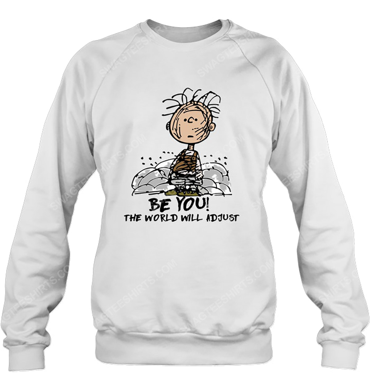 The peanuts charlie brown be you the world will adjust sweatshirt 1