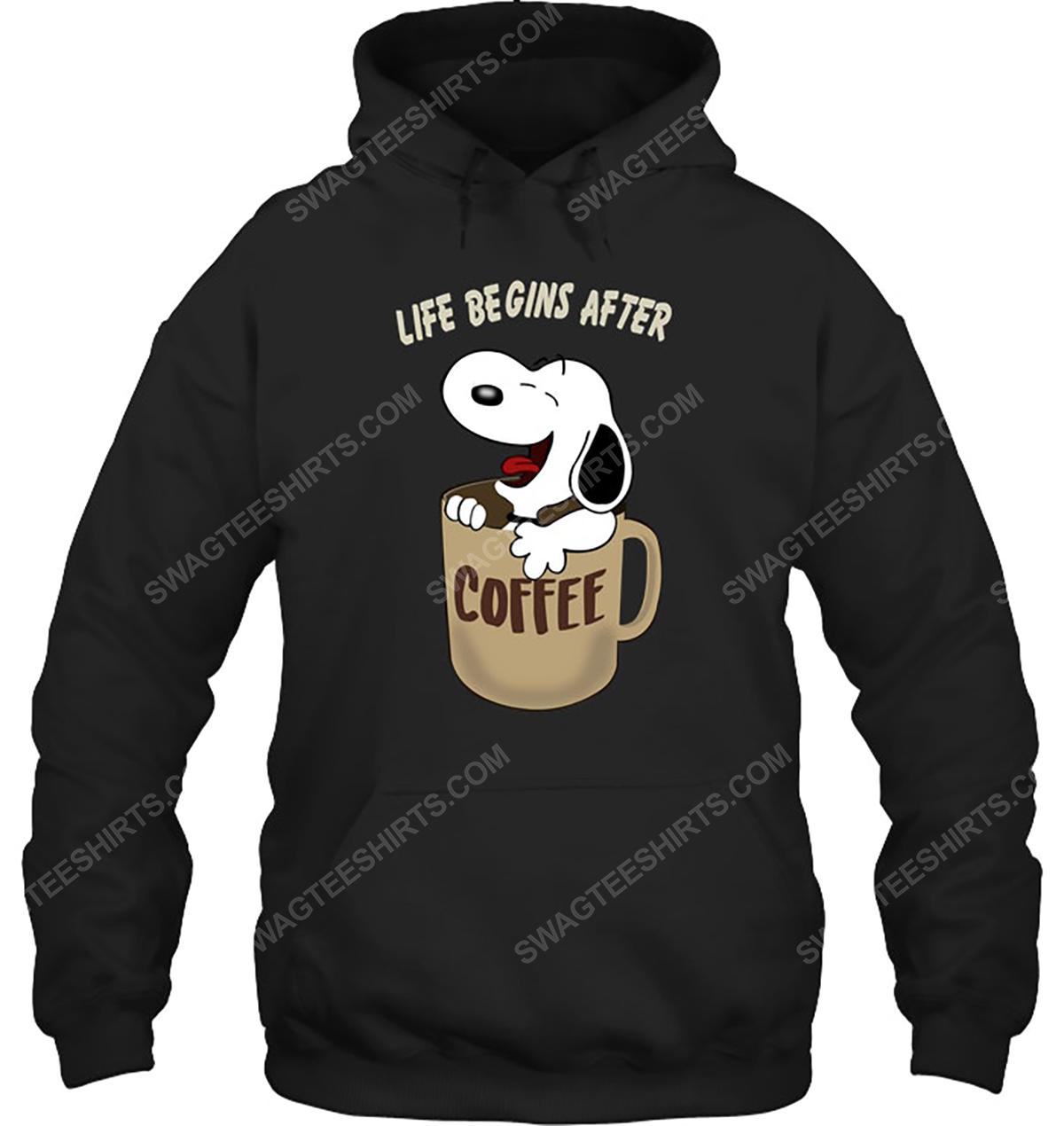 The peanuts snoopy life begins after coffee hoodie 1