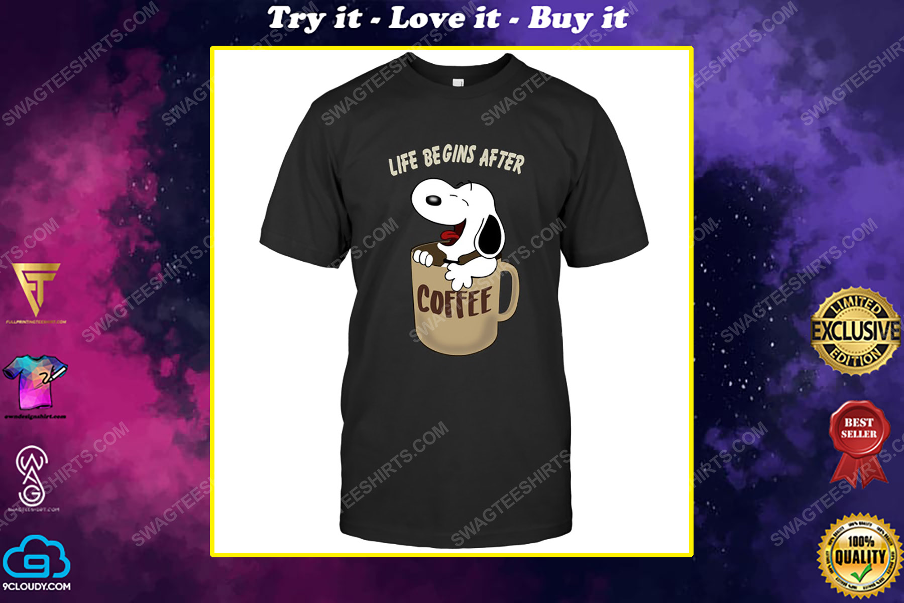 The peanuts snoopy life begins after coffee shirt