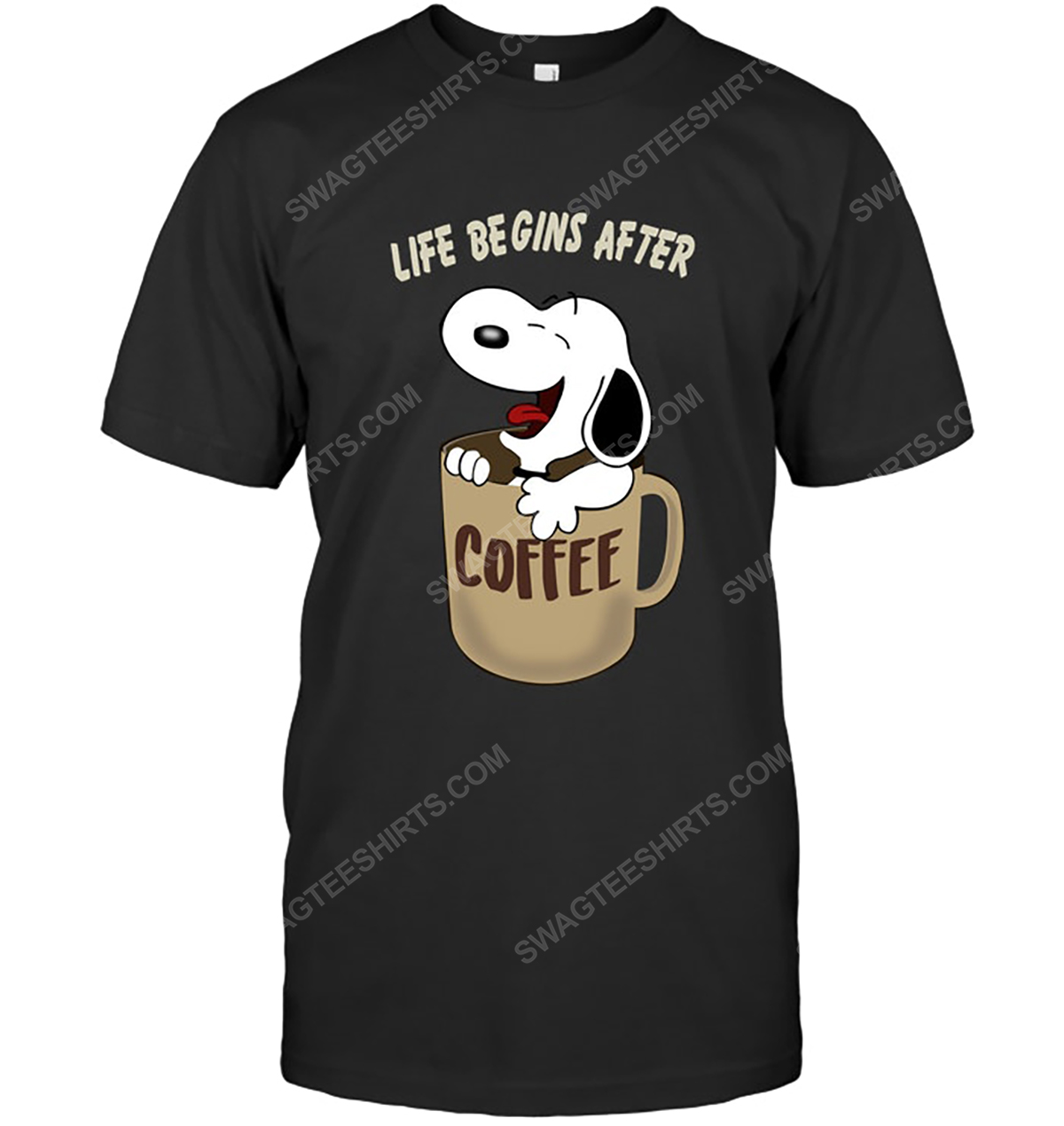 The peanuts snoopy life begins after coffee tshirt 1