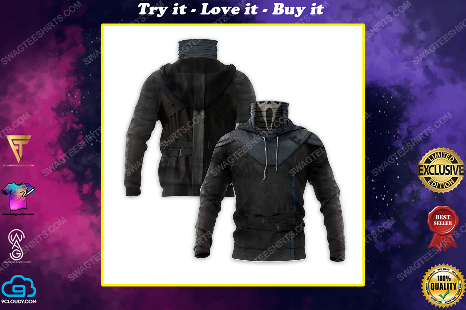 The scream ghost face for halloween full print mask hoodie