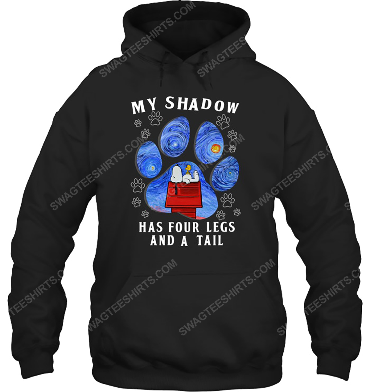 The starry night snoopy my shadow has 4 legs and a tail hoodie 1