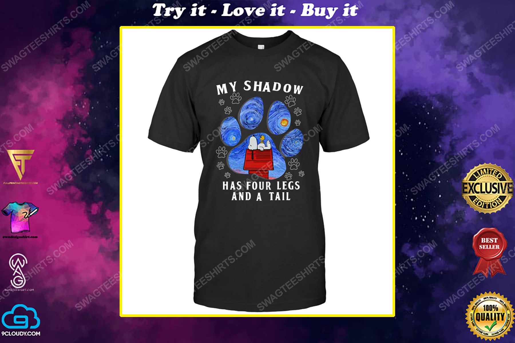 The starry night snoopy my shadow has 4 legs and a tail shirt